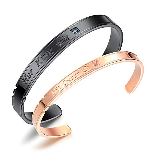 Fate Love Her King His Queen Cuff Bangle Bracelets for Men Women, Silver Rose Gold Black, 6.8-7.28 inch