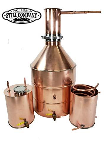 20 Gallon Copper Moonshine Whiskey & Brandy Still with Tri Clamp Cap & Ball Valve Drain, 3 Gallon Worm, 3 Gallon Thumper with 3 Inch Fruit Port, 1/2 OD Copper Tubing by North Georgia Still Company