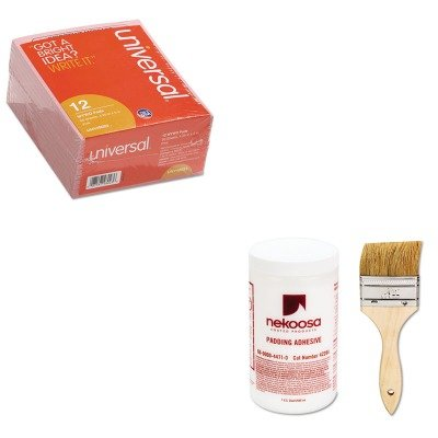 KITNEK42284UNV48023 - Value Kit - Nekoosa Coated Products Fan-out Padding Adhesive (NEK42284) and Universal Important Message Pink Pads (UNV48023)