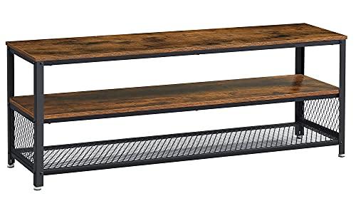 VASAGLE TV 서 길 TV 캐비닛 콘솔 커피 테이블과 금속 구조 나무 같은 곡물 산업에 대한 거실 소박한 갈색과 검은색 ULTV50BX