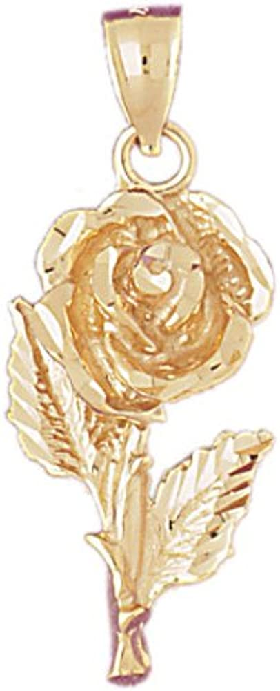 14k Yellow Gold Rose Pendant 15mm x 35mm
