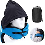 LANGRIA Travel Pillow with Hood - 6 in 1 Memory Foam Neck Support Adjustable Car Cushion with Carry Bag for Adult Plane Flight, Blue Washable Ergonomic Hoodie Cover for Airplane Train Subway
