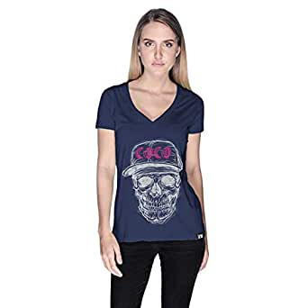 Creo White Pink Coco Skull T-Shirt For Women - Xl, Navy Blue