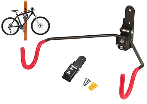 FIVE FLOWER Red bicycle hanger-adjustable angle and convenient space-saving folding feature …