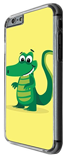 1141 - Cute Fun Crocodile Animal Drawing Yellow Design For iphone 6 6S 4.7'' Fashion Trend CASE Back COVER Plastic&Thin Metal -Clear