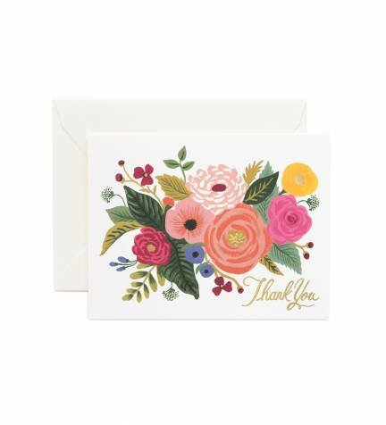 Juliet Rose Thank You Note Cards by Rifle Paper Co. -- Set of 8 Cards and Envelopes