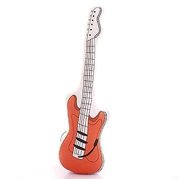 Guitarra eléctrica manta almohada 23.6 pulgadas Longitud Tamaño pequeño de peluche, color naranja: Amazon.es: Hogar