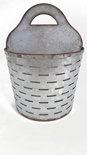 Large Galvanized Metal Olive Wall Half Bucket (Olive Basket)