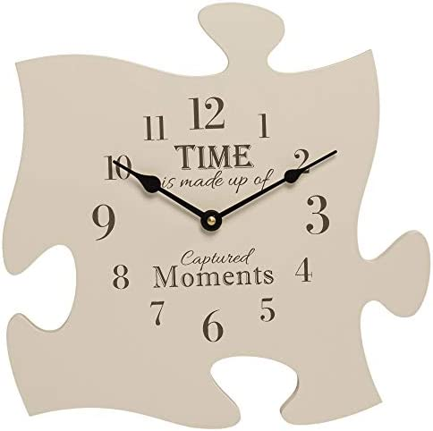 P. Graham Dunn Time is Made Up of Captured Moments 12 x 12 Wall Hanging Wood Puzzle Piece Clock