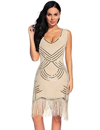 Sexy Fringed Flapper Dress - Women's 1920s Gatsby Dress V Neck Sequin Beads Fringed Cocktail Hem Flapper Dress (S, Nude)
