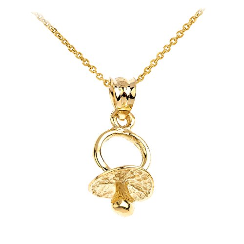 Family Jewelry 14k Yellow Gold Baby Pacifier Charm Pendant Necklace, 16