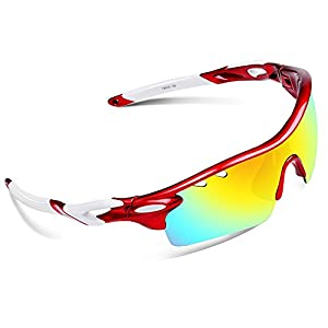 Ewin E01 Polarized Sports Sunglasses with 3 Interchangeable Lenses for Men Women Golf Baseball Volleyball Fishing Cycling Driving Running Glasses(Red&White)