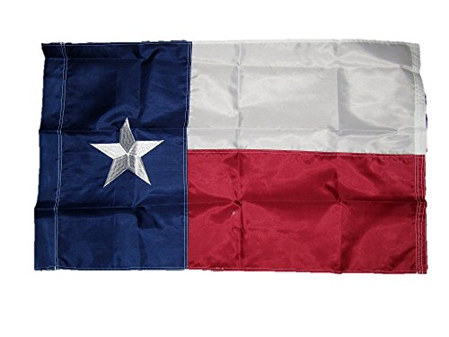 3x5 Embroidered Sewn State of Texas Pole Sleeve 210D Solarmax Nylon Flag 3'x5'