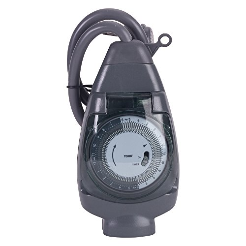 Hour 24 Hr Timer - NSi Industries TORK 601A Outdoor Heavy-Duty 15-Amp 24-Hour Mechanical Plug-In General Purpose Timer with 18-Inch Cord - Multiple On/Off Settings - Compatible with Incandescent/Compact Fluorescent/LED