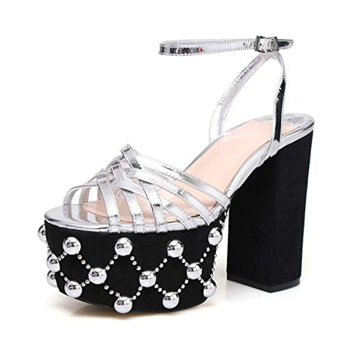 Beading Rivet - EARIAL& Chic Summer Cross Narrow Band Gladiator Sandals Women 12cm Chunky Heel High Platform Beading Rivet Fashion Women Sandalias Silver 6.5