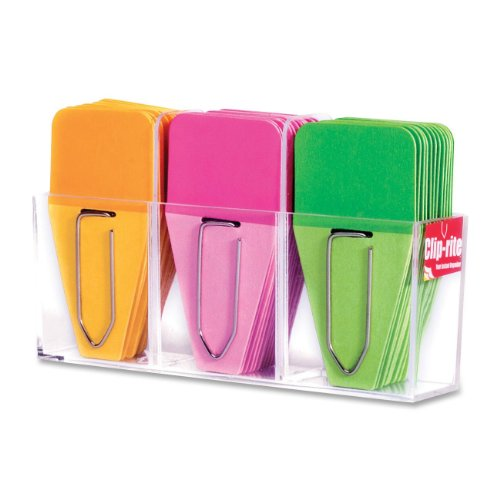 Clip-rite Clip-Tabs Small Solid O/P/G 12 Clip-Tabs per color Dispenser included 36 pieces (CRT-009 (009 Clips)