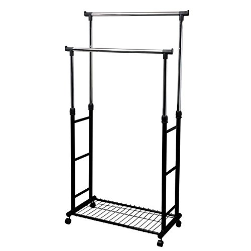 Mondex eve74-00 Double Clothes Rack on Wheels Metal Chrome-Plated 90 x 43 x 7 cm by Mondex