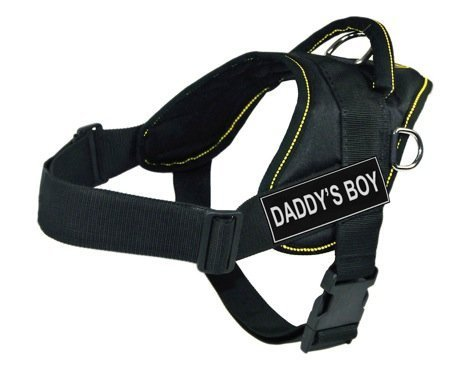 Dean & Tyler D&T FUN DADDYSB YT-XS DT Fun Harness Daddy's Boy, Black with Yellow Trim, X-Small-Fits Girth Size  51cm to 58cm