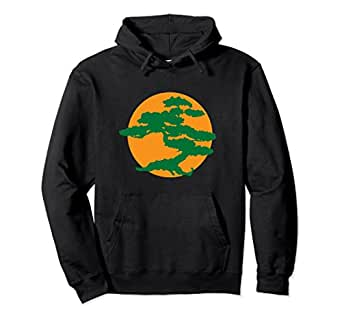 Unisex Bonsai Tree Hoodie with Orange Sun Japanese Karate Zen Small Black