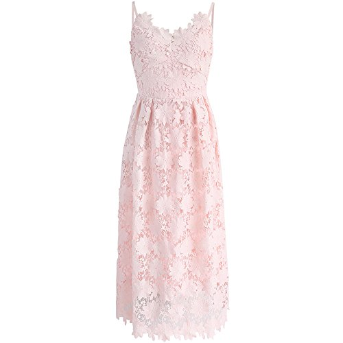 Chicwish Women's Pink Floral Flower Lace Crochet Flared Cami A-line Dress