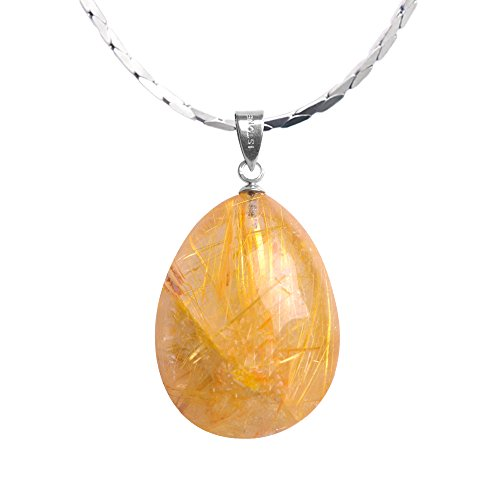 iSTONE Unisex Natural Rutilated Quartz Water Drop Pendant Necklace 925 Sterling Silver 18
