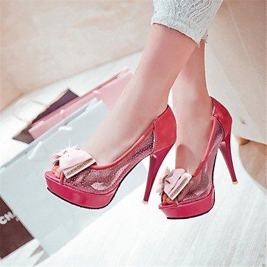 LvYuan Mujer-Tacón Stiletto-Innovador Zapatos del club-Sandalias-Boda Vestido Fiesta y Noche-Tul Semicuero-Negro Rojo Beige Red