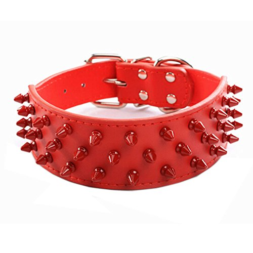 "Avenpets Glamour Design Soft Leather Dog Collar with 3 Rows Of Red Spikes Bull Terrier Collar,Red,XS:(neck 15-18"")"
