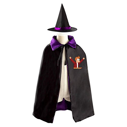 Halloween Futurama Wizard Witch Kids Childrens' Cape With Hat Party Costume Cloak purple