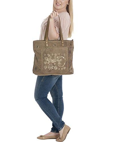 Sunsa Damen Vintage Tasche Canvas Shopper Schultertasche 49x34x11 cm