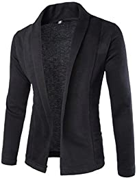 LD Mens Outdoor Lapel Stitching Solid Front Open Cardigan Jacket