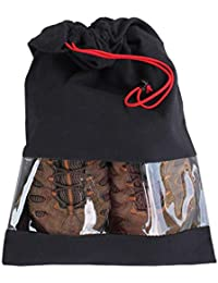 Shoe Storage Bags Travel 100% Cotton with Drawstring & Clear Window Made in the USA (Set of 2) …