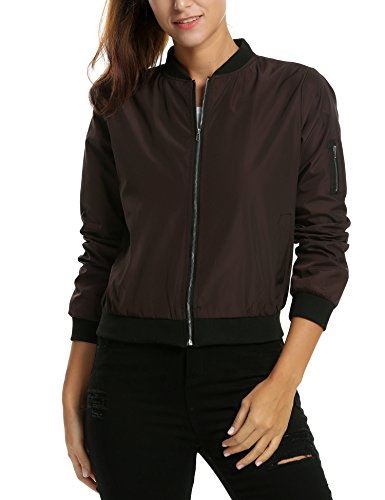 - Zeagoo Womens Classic Quilted Jacket Short Bomber Jacket Coat, Coffee, Small