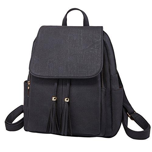 Fashion Shoulder Bag Rucksack PU Leather Women Girls Ladies Backpack Travel bag (Black) by PlasMaller