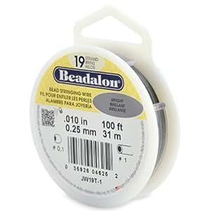 Beadalon - Alambre para joyería (31m x 0,25 mm, 19 hilos), brillante