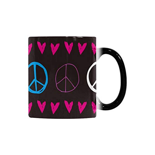 InterestPrint Fun Cute Peace Sign Heart 11oz Color Changing Mug, Heat Sensitive Change Morph Coffee Cup Tea Mug for Travel Kitchen Outdoor Indoor