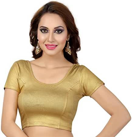 Women's Trendy Stretchable Lycra Saree Blouse solid color Crop top Collection!