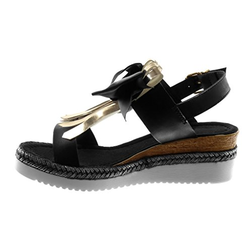 Angkorly Women's Fashion Shoes Sandals Mules - Ankle Strap - Platform - Knot - Node - Fringe - Cord Wedge Platform 5.5 cm Black EEsHwoFvy4