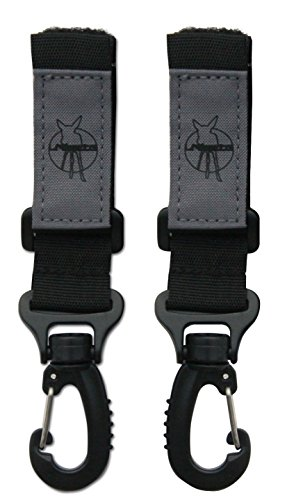 Lässig Kinderwagenbefestigung/Kinderwagenhaken/Kinderwagenkarabiner Stroller Hooks zum Befestigen am Kinderwagen mit Klettverschluss, black 2 Stueck