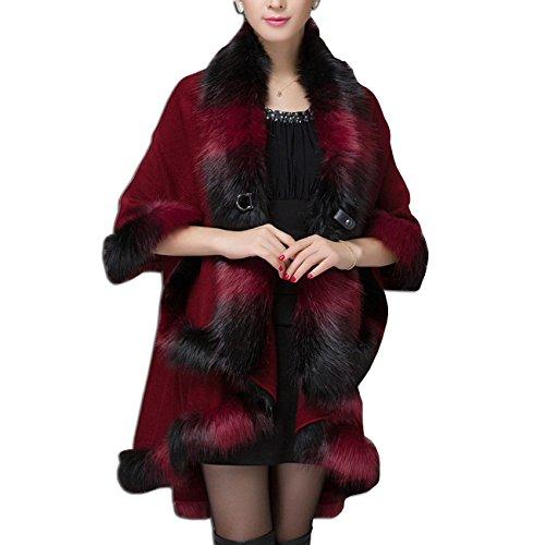 Cappotti Soprabito ecologica KAXIDY Giacche Poncho Mantelli Rosso Pelliccia Mantelle Donna a4qI8
