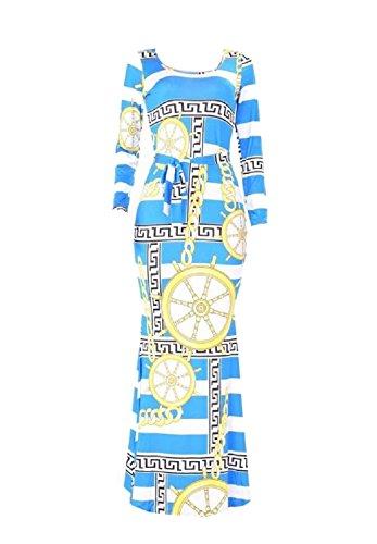 WSPLYSPJY Women's Sexy Scoop Neck Long Sleeve Gold Chain Print Long Maxi Dresses 5 M
