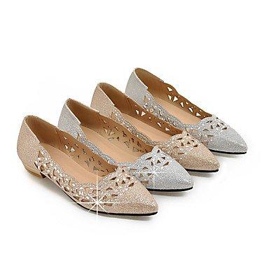 Cómodo y elegante soporte de zapatos de las mujeres pisos zapatos de primavera verano otoño Club bailarina con purpurina fiesta y vestido de noche Casual soporte de tacón con lentejuelas plata de purp plata