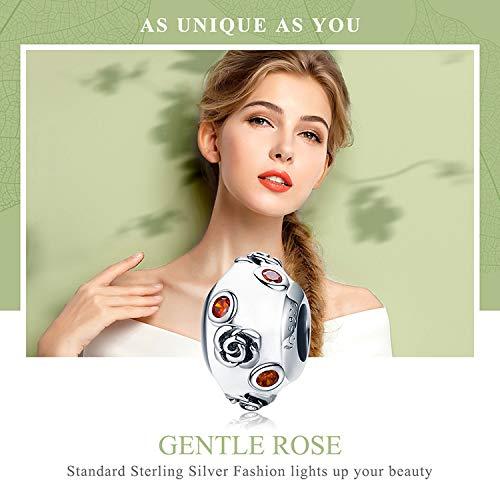 Everbling Rose Flower Orange CZ 925 Sterling Silver Bead Fits European Charm Bracelet