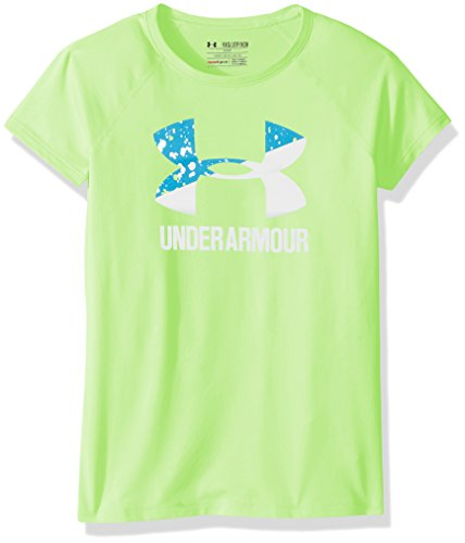 Under Armour Girls' Solid Big Logo Short Sleeve T-Shirt, Quirky Lime/White, Youth Medium