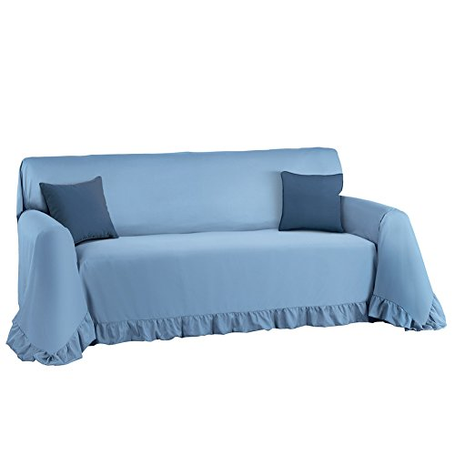 Collections Etc. Solid-Colored Ruffled Furniture Cover and Furniture Protector, Blue, Sofa from Collections Etc