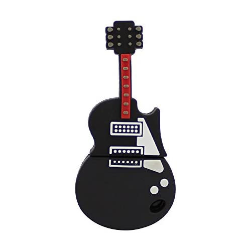 CHUYI Cartoon Guitar Shape Novelty Pen Drive 32GB USB 2.0 Flash Drive USB Flash Disk Cute Thumb Drive Memory Stick Jump Drive Gift (Black)
