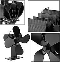 4 Cuchillas Calentador de Estufa Alimentado por Calor Quemador de leña Quemador de leña Ecofan Silencioso Hogar Negro Ventilador Eficiente Distribución de ...