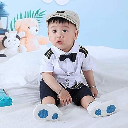ALLAIBB Baby Boy Newborn Infant Navy Captain Jumpsuit Romper Toddler Pilot Uniform Bodysuit Outfit