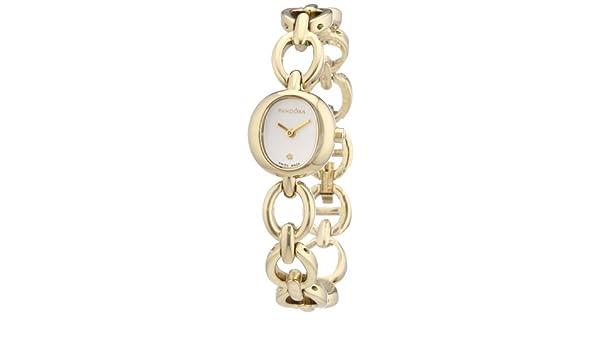 Pandora 812025WH - Reloj analógico de mujer de cuarzo con correa de acero inoxidable dorada: Amazon.es: Relojes