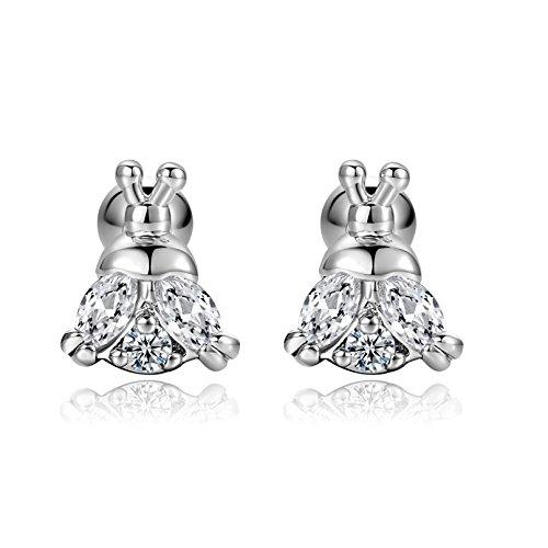 Cute Bee Cartilage Earring Stud 18G Sleeper Earring CZ Stainless Steel Pierced Earrings Auricle Jewelry For Women Men(White)
