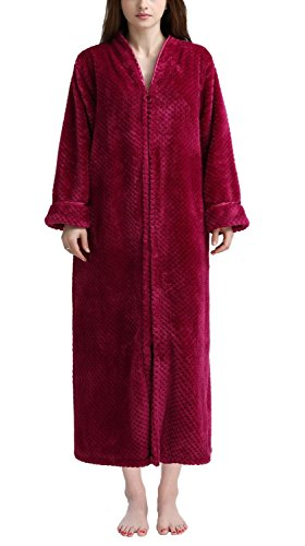 Soojun Women's Waffle Fleece Soft Zip up Front Bathrobe, Rosered, Small/Medium (Flannel Robe Women Zipper)